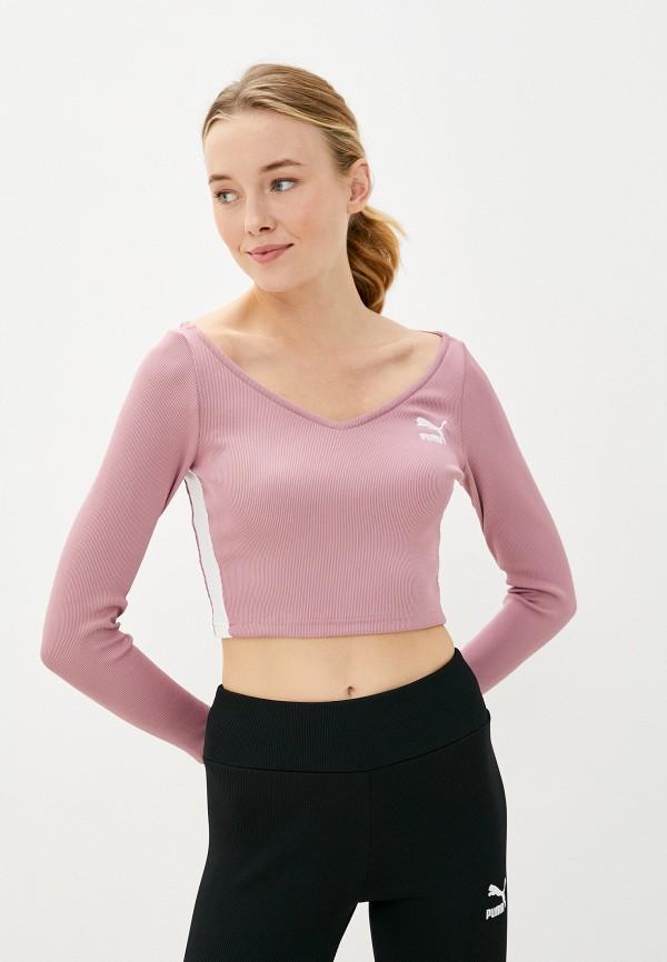 женский лонгслив puma, розовый