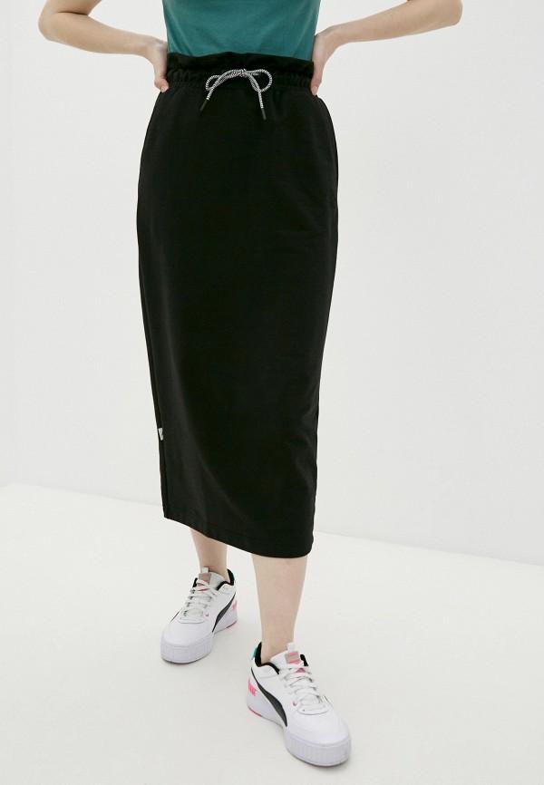 женская прямые юбка puma, черная
