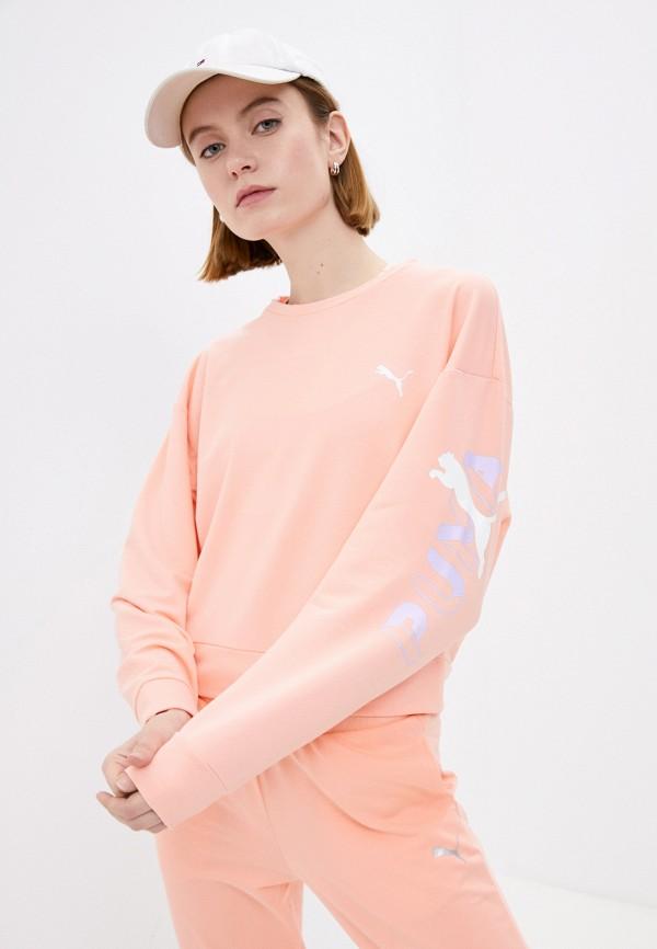 женский спортивные свитшот puma, оранжевый