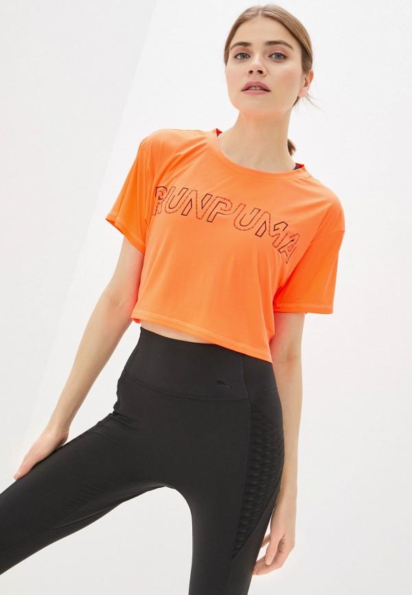женская футболка puma, оранжевая