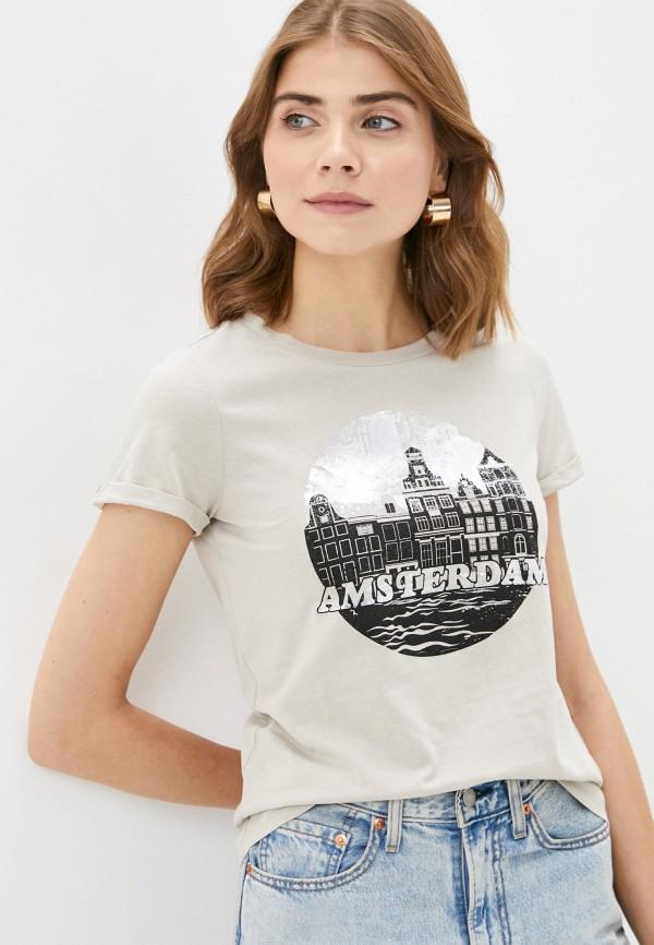 женская футболка q/s designed by, бежевая