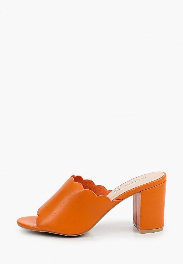 женское сабо queen vivi, оранжевое
