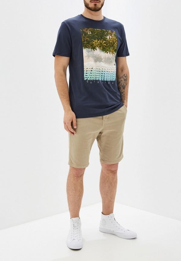 Фото 2 - мужскую футболку Quiksilver синего цвета