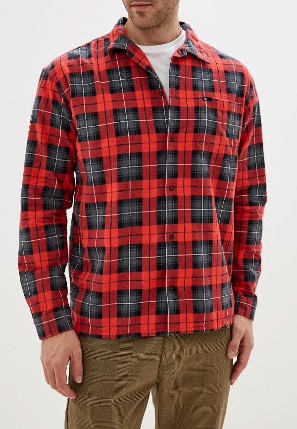 мужская рубашка с длинным рукавом quiksilver, красная