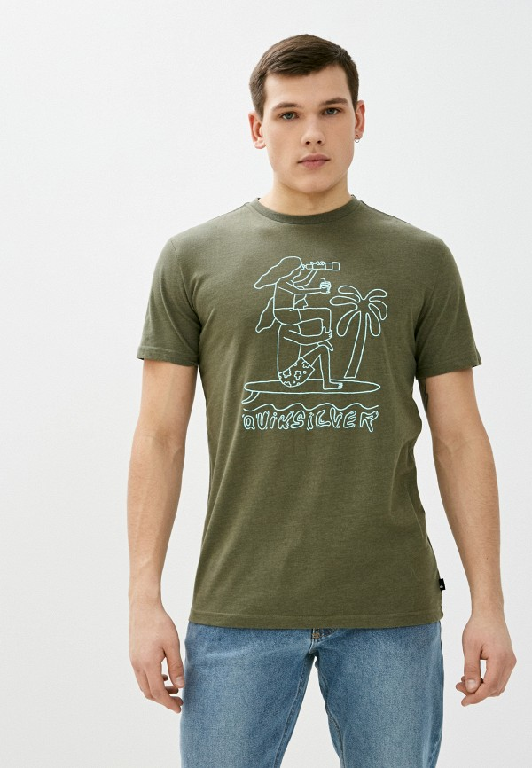 мужская спортивные футболка quiksilver, хаки