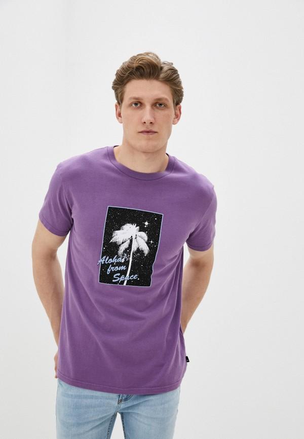мужская спортивные футболка quiksilver, фиолетовая