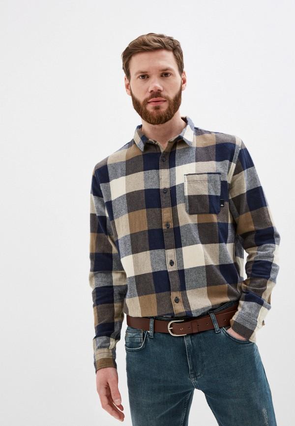 мужская рубашка с длинным рукавом quiksilver, коричневая