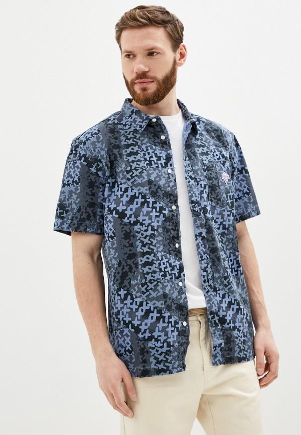 мужская рубашка с коротким рукавом quiksilver, синяя