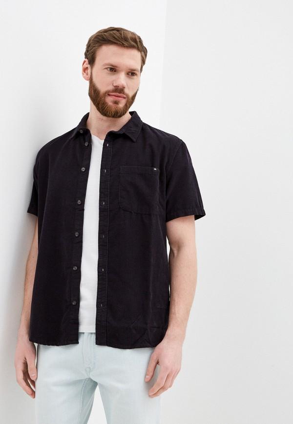 мужская рубашка с коротким рукавом quiksilver, черная