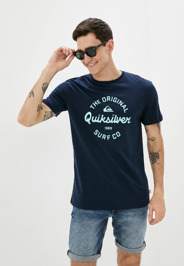 мужская футболка с коротким рукавом quiksilver, синяя