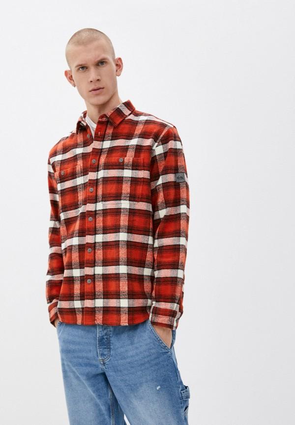 мужская рубашка с длинным рукавом quiksilver, оранжевая