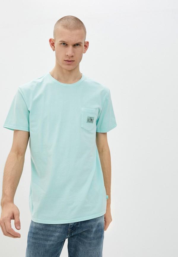 мужская футболка с коротким рукавом quiksilver, бирюзовая