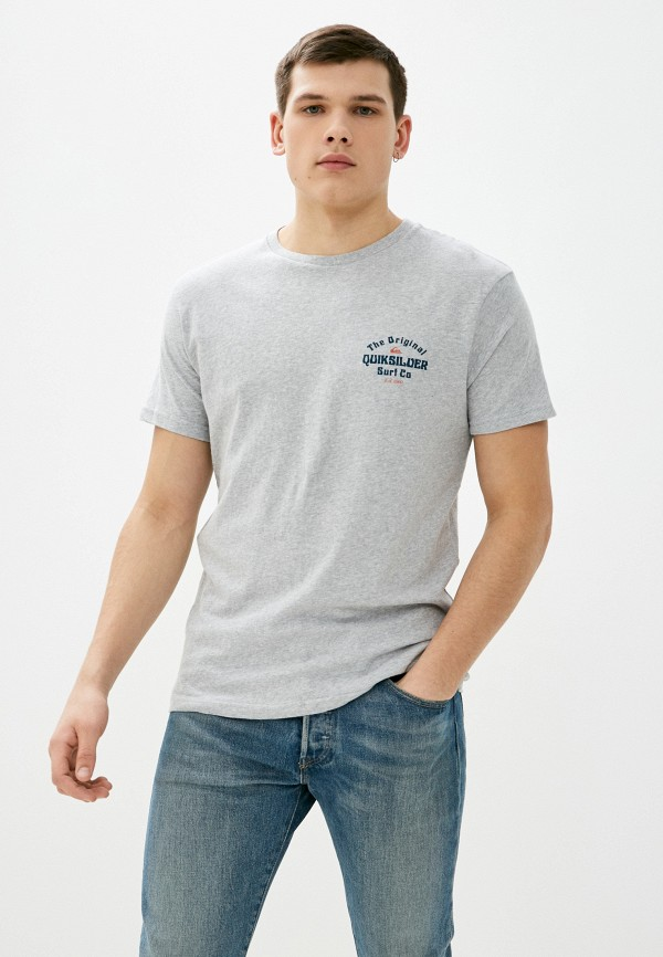 мужская футболка с коротким рукавом quiksilver, серая