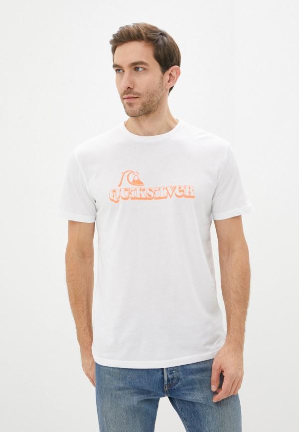 мужская футболка с коротким рукавом quiksilver, белая