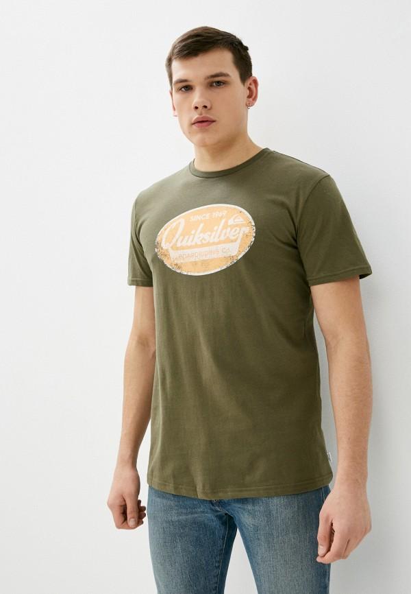мужская футболка с коротким рукавом quiksilver, хаки