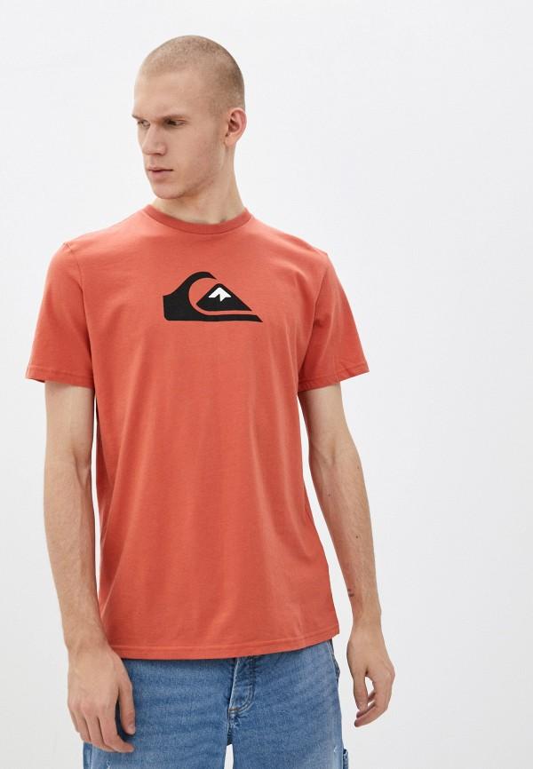 мужская футболка с коротким рукавом quiksilver, оранжевая