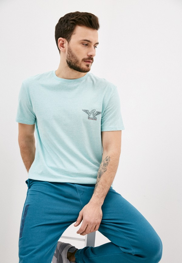 мужская футболка с коротким рукавом quiksilver, голубая