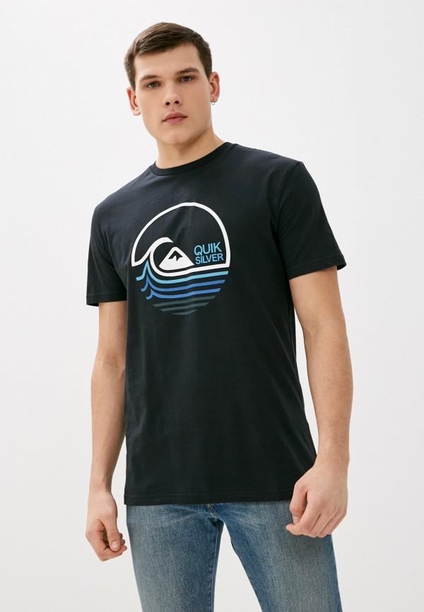 мужская футболка с коротким рукавом quiksilver, черная