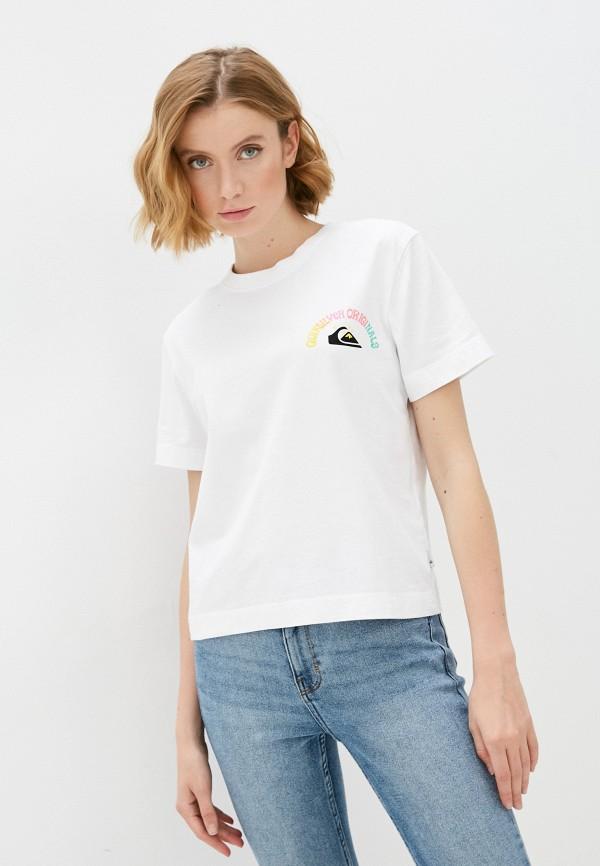 женская спортивные футболка quiksilver, белая