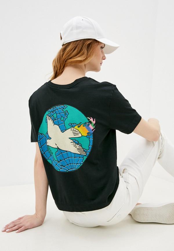 женская спортивные футболка quiksilver, черная