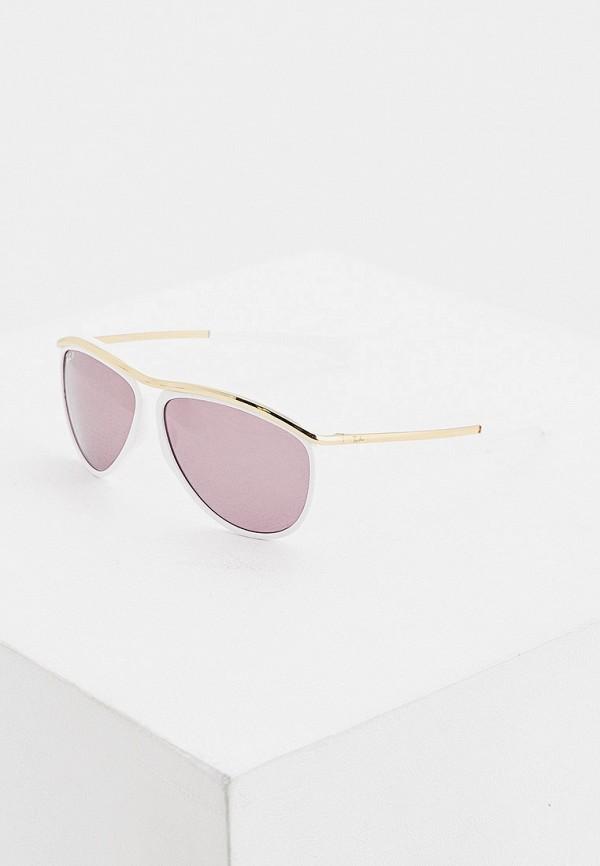 женские авиаторы солнцезащитные очки ray ban, белые