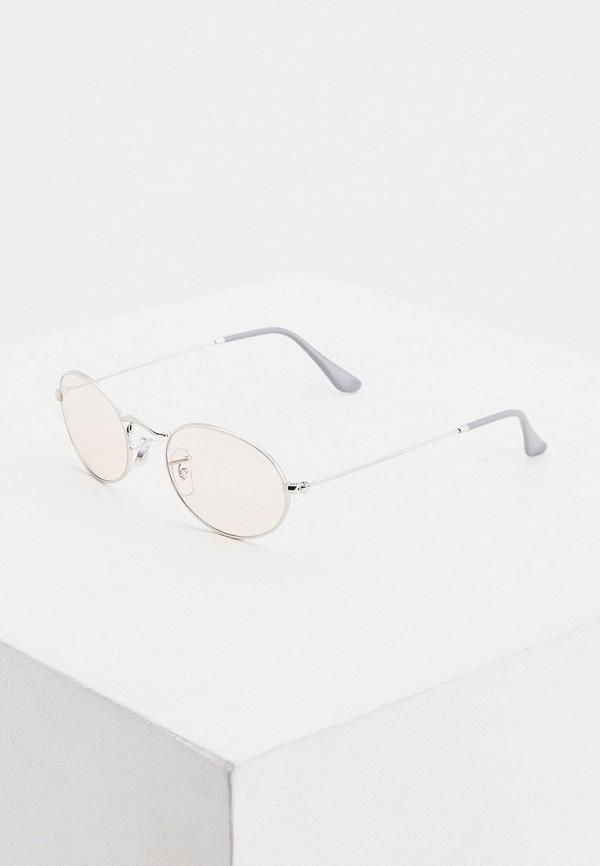 женские круглые солнцезащитные очки ray ban, серебряные