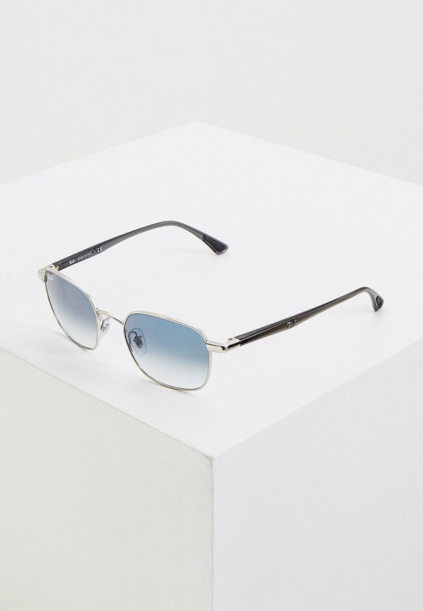 женские квадратные солнцезащитные очки ray ban, серебряные