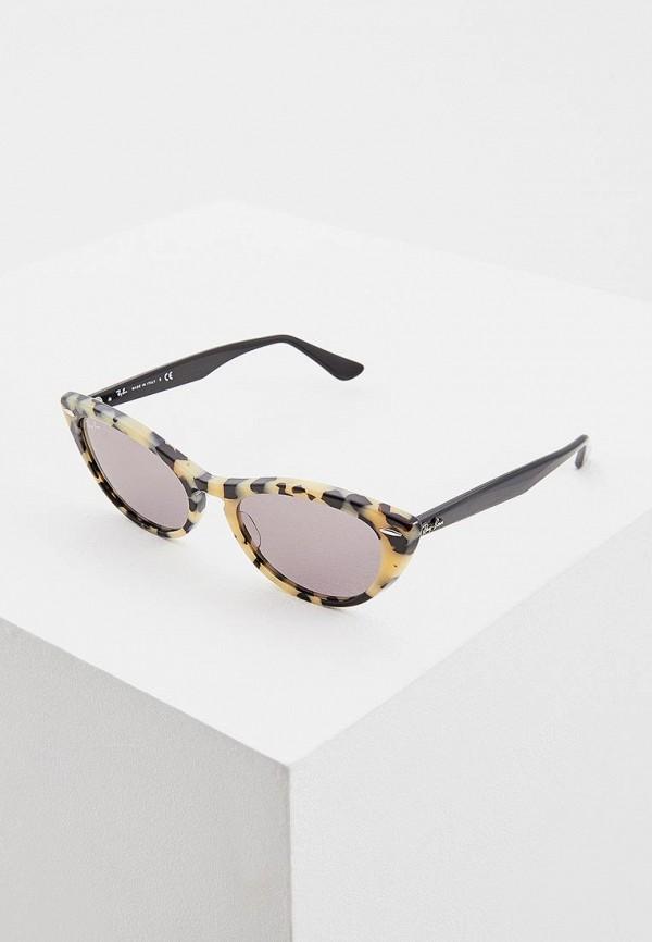 женские солнцезащитные очки кошачьи глаза ray ban, бежевые