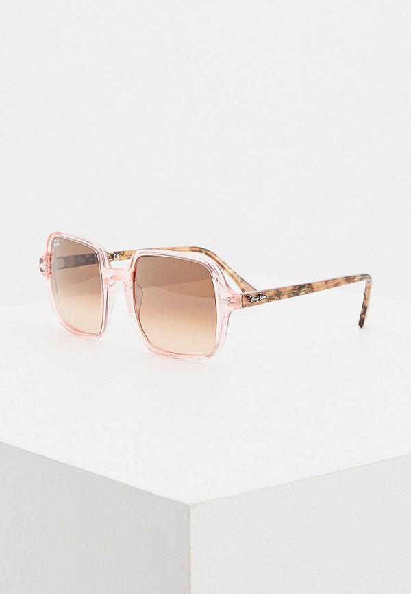 женские квадратные солнцезащитные очки ray ban, розовые