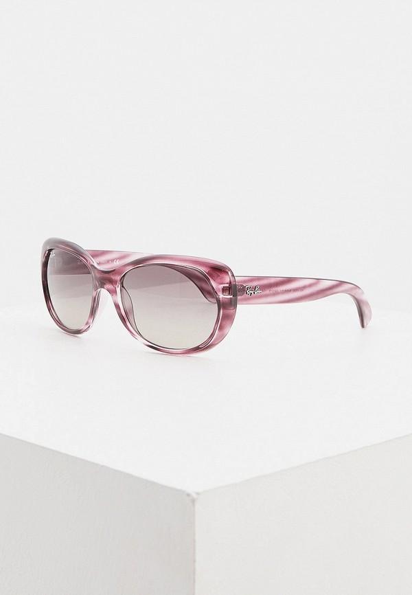 женские круглые солнцезащитные очки ray ban, фиолетовые