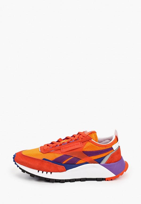 женские низкие кроссовки reebok classic, оранжевые