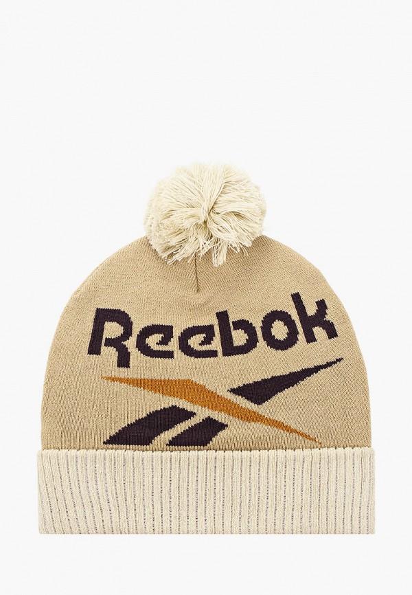 женская шапка reebok classic, бежевая
