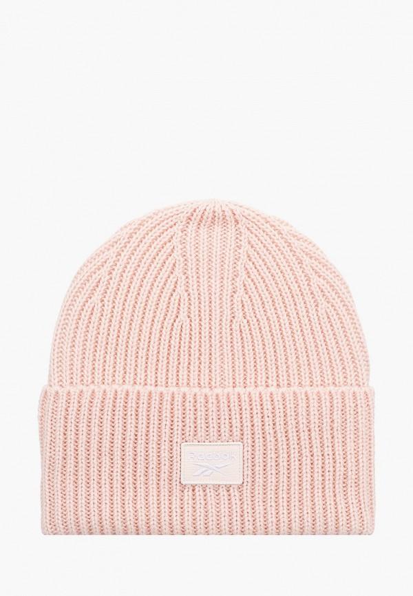 женская шапка reebok classic, розовая