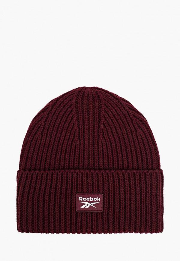 женская шапка reebok classic, бордовая