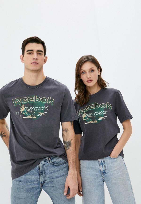 женская спортивные футболка reebok classic, серая