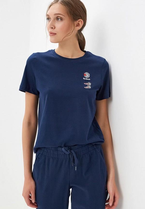 женская спортивные футболка reebok classic, синяя