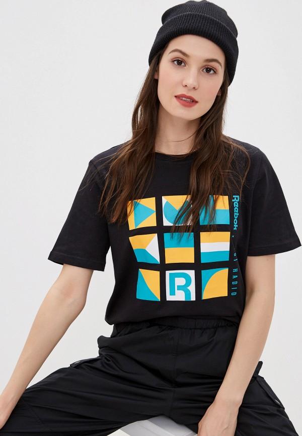 женская спортивные футболка reebok, черная