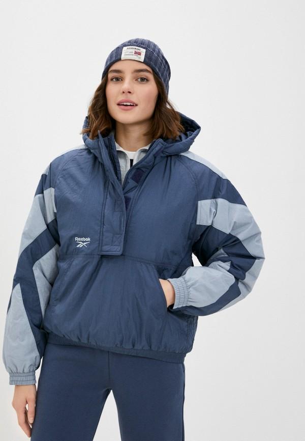 женская куртка reebok classic, синяя