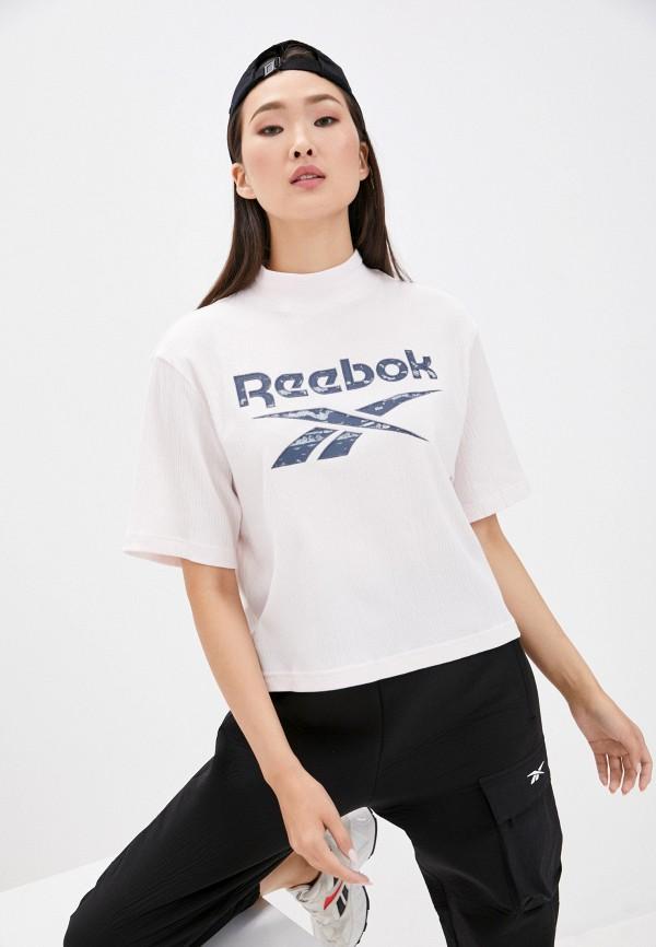 женская спортивные футболка reebok classic, розовая