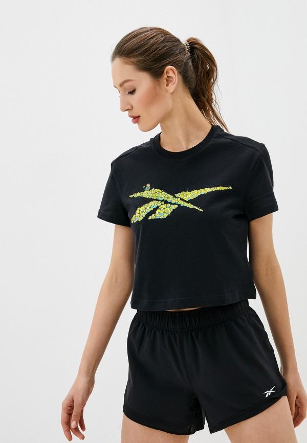 женская спортивные футболка reebok classic, черная