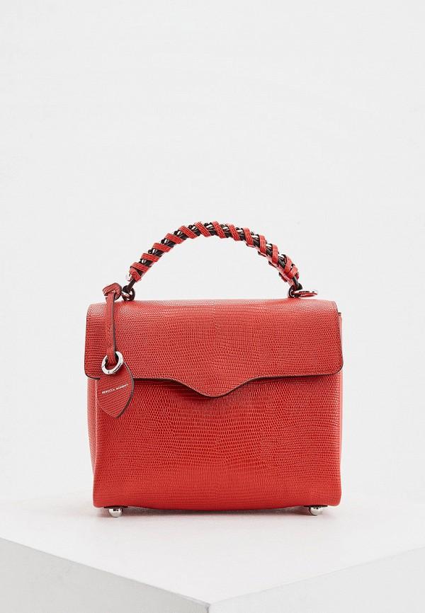 женская сумка с ручками rebecca minkoff, красная