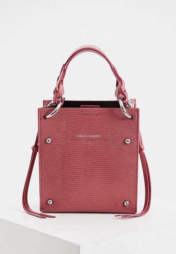 женская сумка с ручками rebecca minkoff, розовая