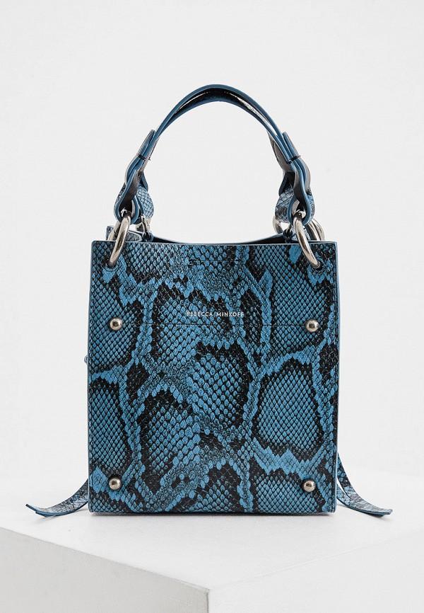 женская сумка с ручками rebecca minkoff, синяя