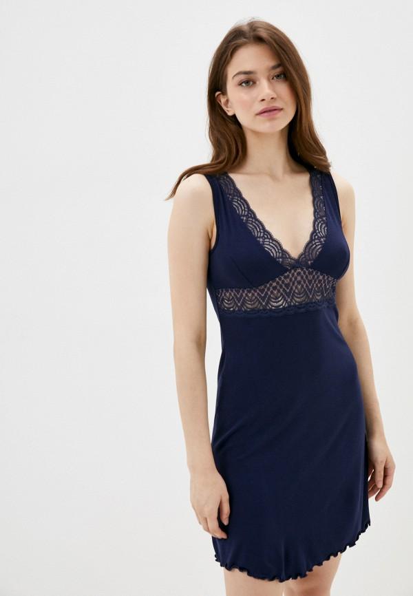 женские сорочка ночная rene santi, синие