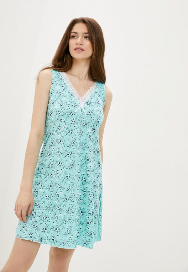 женские сорочка ночная rene santi, голубые