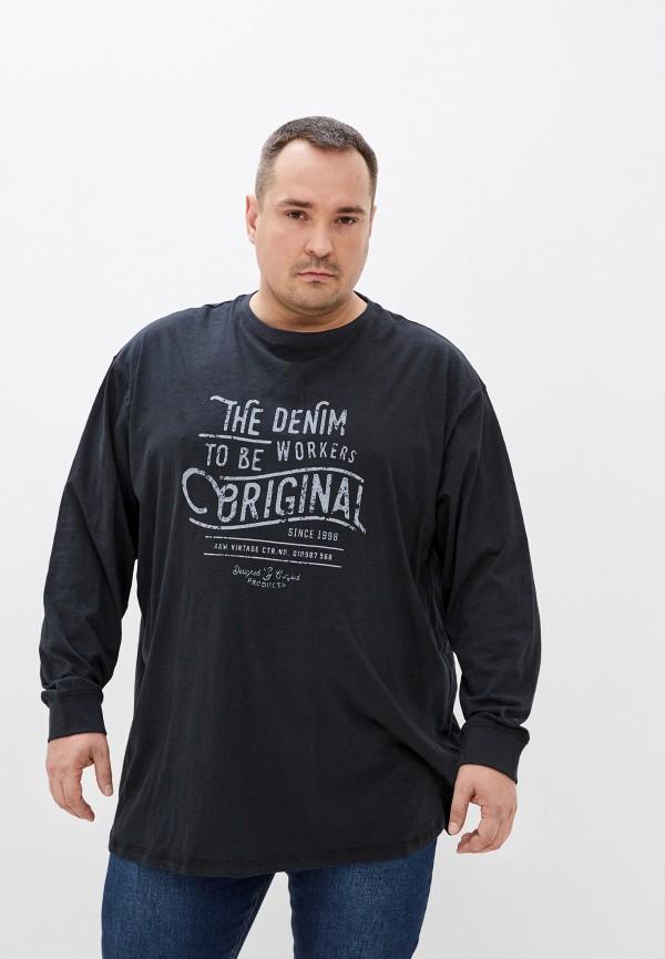 мужской лонгслив replika jeans, черный