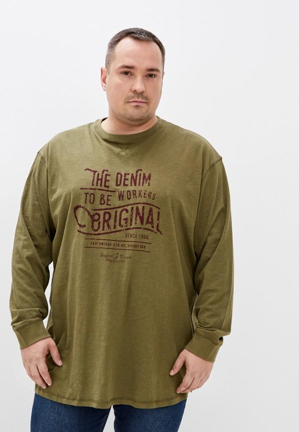 мужской лонгслив replika jeans, зеленый