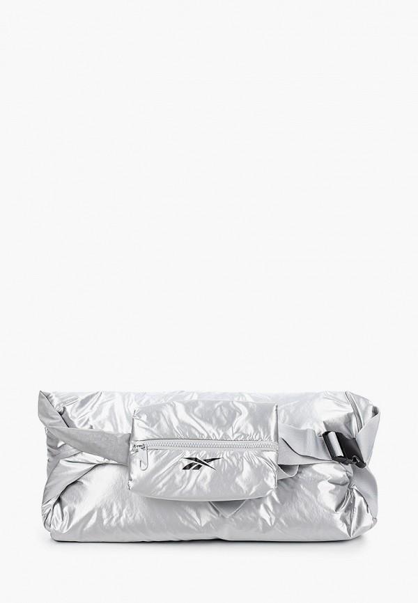 женская сумка через плечо reebok, серебряная