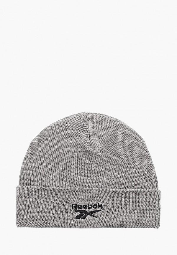 женская шапка reebok, серая