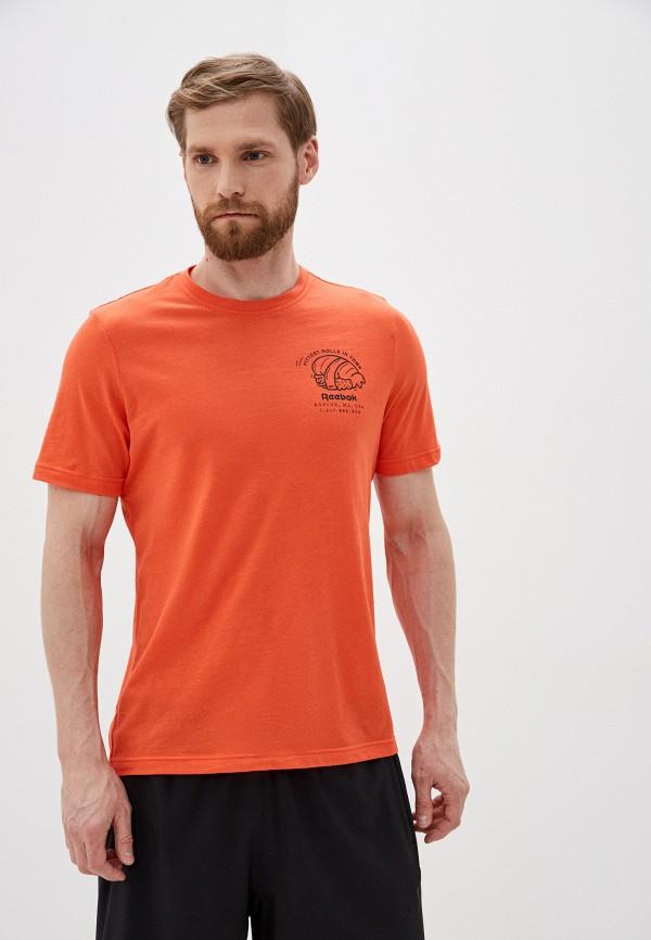мужская футболка с коротким рукавом reebok, оранжевая